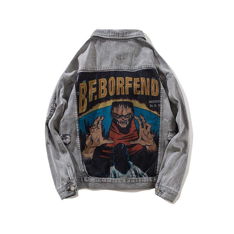 Streetwear Character Demon Printed Denim Jacket Men's Hole Black Hip Hop Windbreaker Jeans Jacket Plus Size Men's Winter Jacket