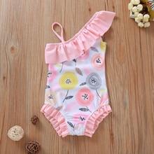 Бикини с цветочным рисунком для маленьких девочек, детский летний купальник, купальный костюм для девочек, купальный костюм, пляжная одежда, розовый От 1 до 5 лет