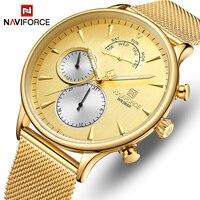Novos Homens Relógios Top Marca NAVIFORCE Simples de Quartzo Relógio de Pulso À Prova D' Água Data Do Esporte Dos Homens de Aço Completo Relógio Masculino Relogio masculino