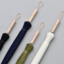 Tiohoh 24K Longo Umbrella Chuva Mulheres Fortes Chuvas Homens À Prova de Vento Estilo Japonês Madeira de Bordo Paraguas Golfe Guarda chuva Clara Grande
