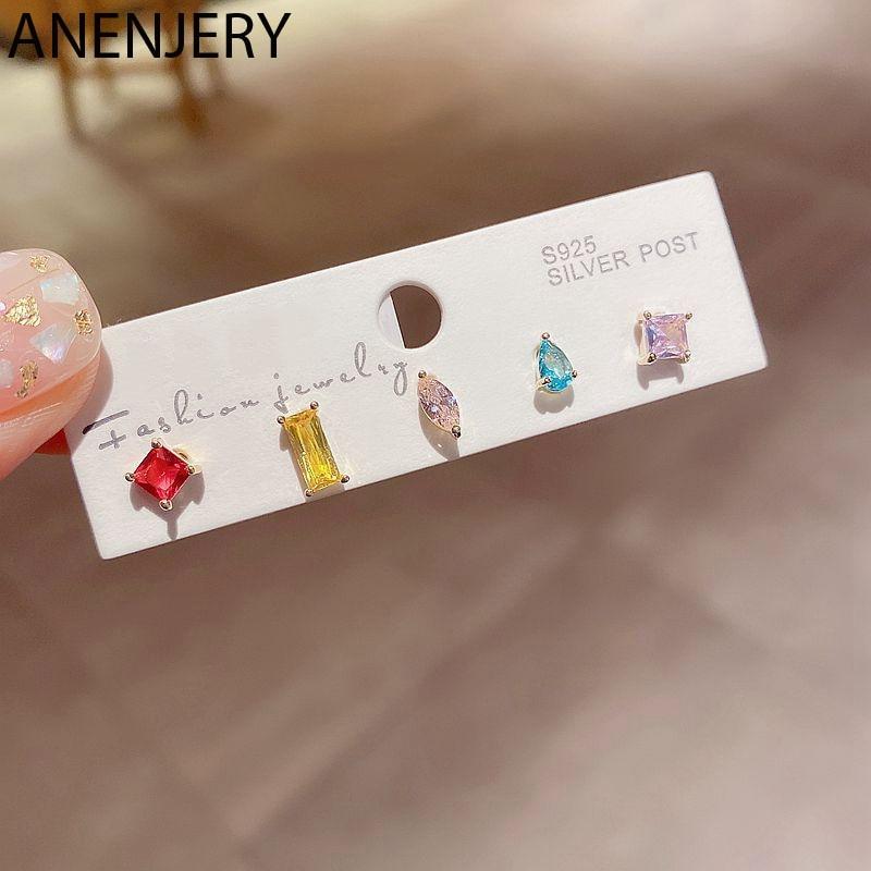 ANENJERY 6 Teile/satz Ohrringe Mini Mode Farbe Zirkon Ohrringe Set für Frauen Geometrische Form Kristall Ohr Schmuck S-E1294