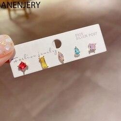 ANENJERY 6Pcs/Set Earrings Mini Fashion Color Zircon Stud Earrings Set for Women Geometric Shape Crystal Ear Jewelry S-E1294