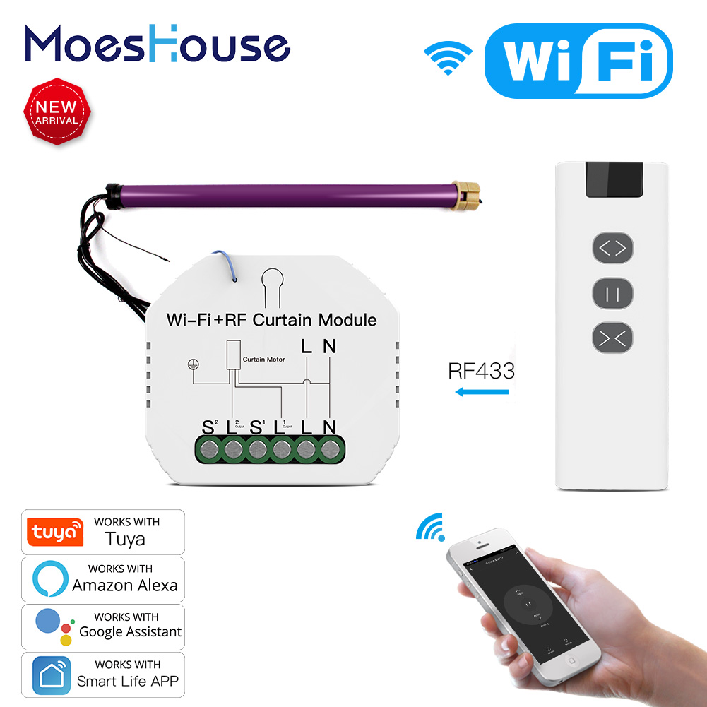 WiFi RF Smart Curtain Blinds Module Switch Roller Shutter Motor Tuya Wireless Remote Control Work With Alexa Google Home