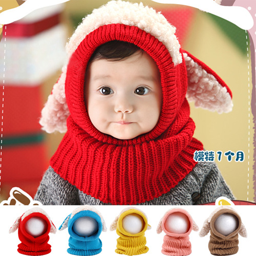 Children Scarf Hat Wool Knitted Thicken Dog Shape 6-36month Baby Cloak Warm Shawl Puppy Winter Set Cute Accessories Gift