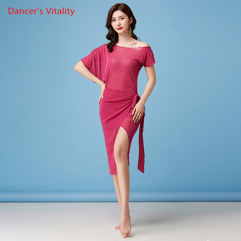 Dress Clothing Practice-Clothes Belly-Dance-Skirt Mesh Performance Profession Exercise