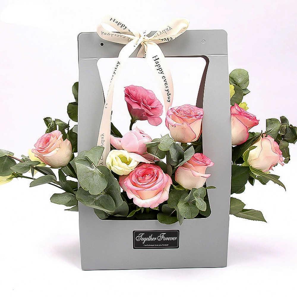 Portable Foldable Flower Gift Box Holder Florist Packing Case DIY Craft Present
