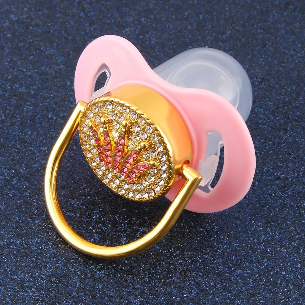 Bling Bling Pink Crown Rhinestones Baby Pacifier Lollipop Elegant Infant Dummy Cocka Chupeta Baby Shower Gift