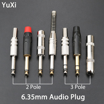 YuXi 6.35mm 2 Pole 3 Pole Mono Audio Plug 6.35 / 6.5 Metal Microphone jack plug-in Audio Connector for KTV Guitar microphone 6 5mm audio jack microphone module white black