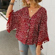 Simplee V צוואר בוהמי כפתור חולצה חולצה נשים flare שרוול מקרית streetwear נשי חולצה חולצה מזדמן סתיו ציצית חולצות