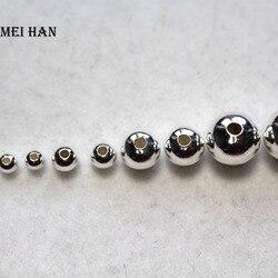 Meihan 925 prata esterlina contas redondas 2-10mm diy jóias pulseira colar solto bola achados hotsale