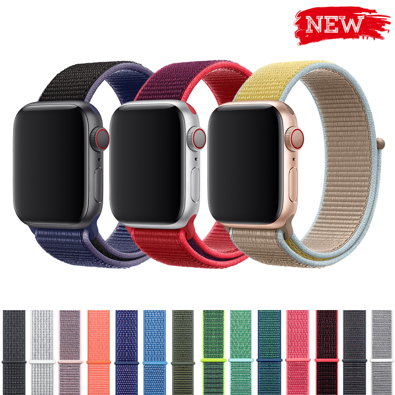 Sport Loop Strap For Apple Watch Band 4 3 44mm 42mm 38mm 40mm Iwatch Belt 5/4/3/2/1 Bracelet Double-layer Nylon Weave Watchband