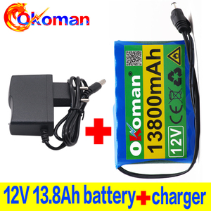 100% original 12V battery pack 13.8Ah 18650 Rechargeable Lithium Ion battery pack capacity DC 12.6V 13800mAh CCTV Cam Monitor(China)