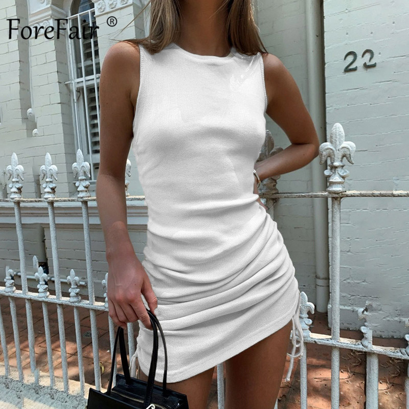 Forefair Ribbed Mini Dress Women Drawstring Sexy Sleeveless O Neck Vintage Bodycon Party Club Knitted Summer Dress