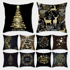 Taoup Gold Black Snowflake Merry Christmas Pillowcase Xmas Decor for Home Decor for Christmas Ornaments Xmas Noel Santa Claus