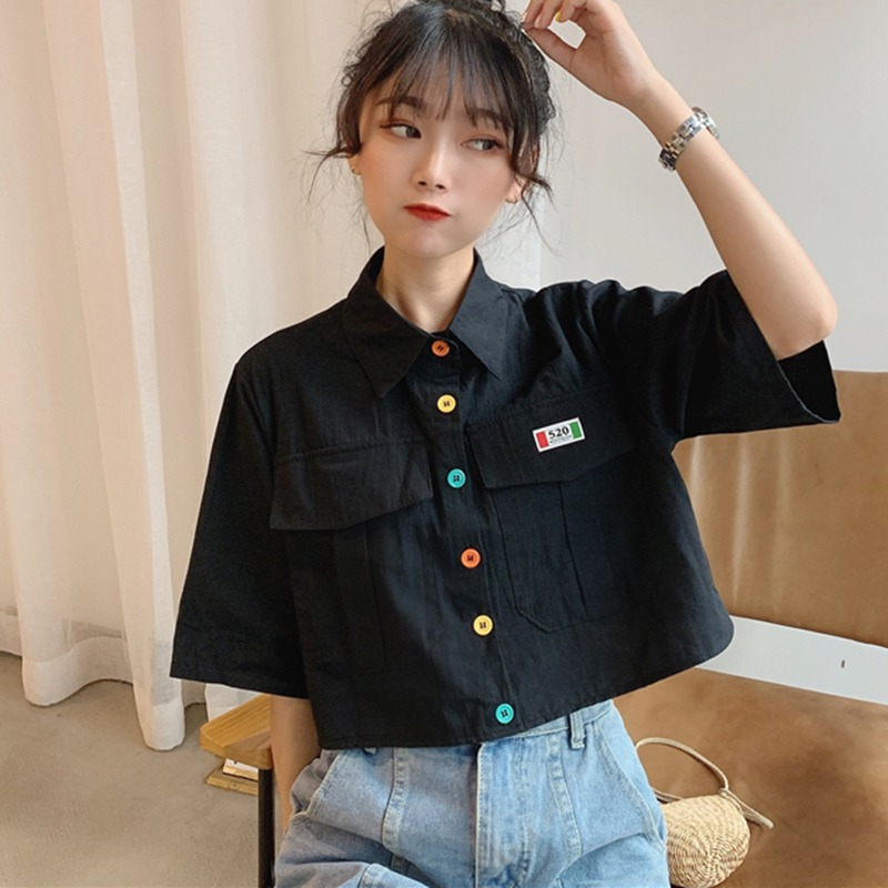 Women Buttons Loose Blouses Turn-down Collar Casual Short Sleeve Shirt Preppy Style Blouse For Girls