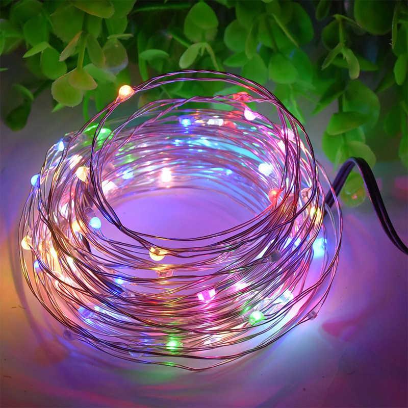Cadena de luces LED USB 10M LED cadena estrellada luces de batería Hada Micro LED cable de cobre transparente para fiesta de navidad
