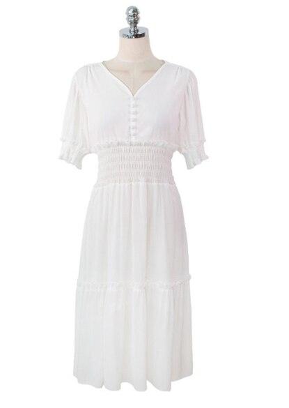 אלסטי מותניים בתוספת גודל קיץ שמלת בנות Boho מסיבת נשי בציר שמלת שיפון קצר שרוול נשים שמלות לבן ארוך גלימה ve