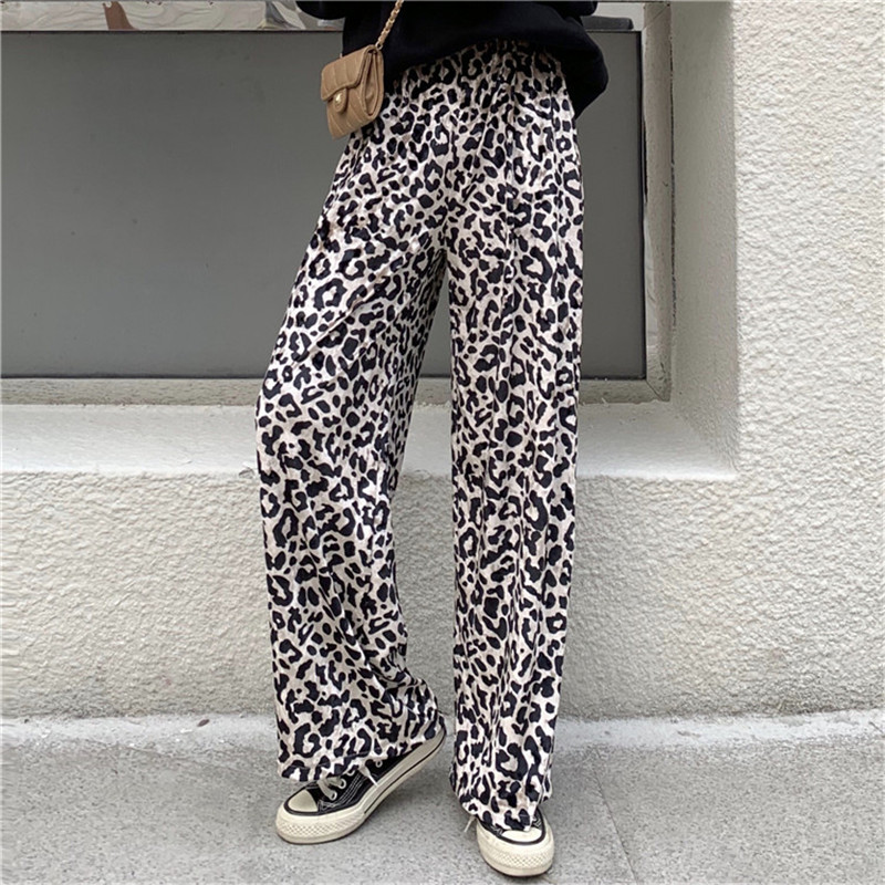 Alien Kitty Fashion Velvet Leopard   Pants   Women Solid High Waist Bottom   Wide     Leg     Pants   Loose Casual Lady Trousers Pantalon Femme