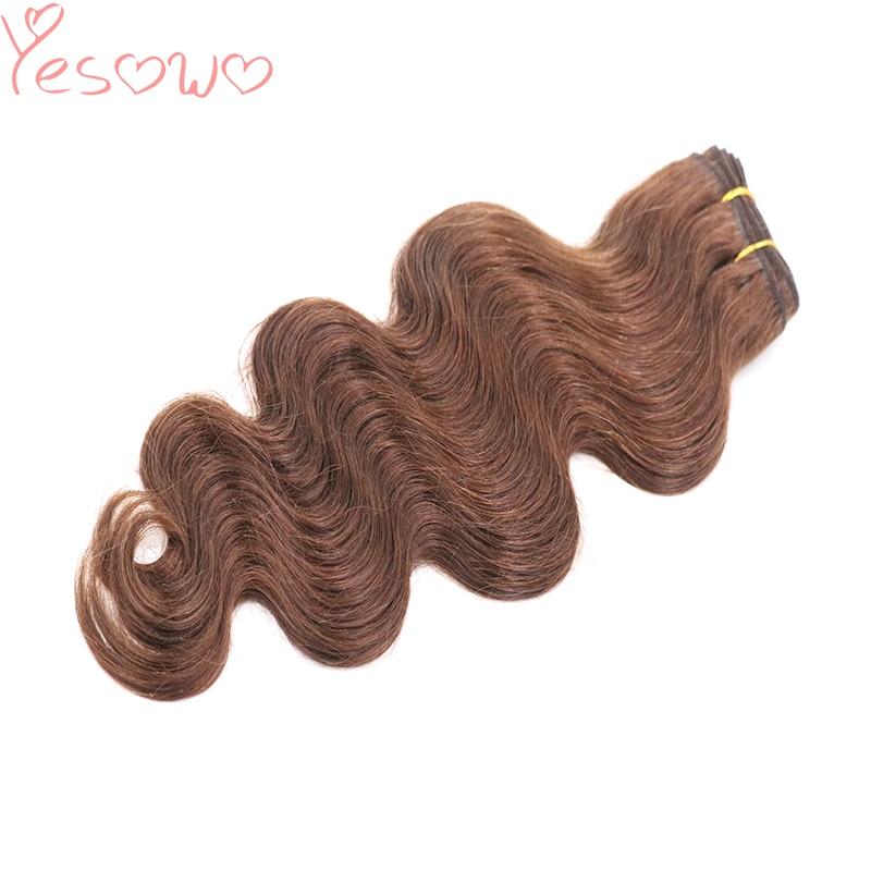 Yesowo 100g 4# Medium Brown Raw Unprocessed Brazilian Virgin Remy Human Hair Body Wave Double Drawn Human Hair Weft Weave