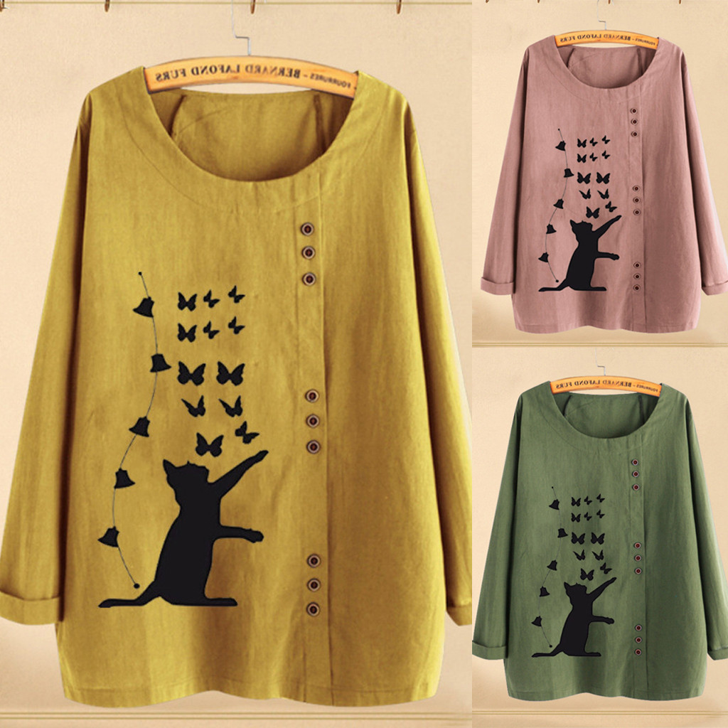 Plus Size Women Long Sleeves Cotton Linen O-Neck Cat Print Button Blouse Top 2019 Autumn Winter Women Girls Oversize