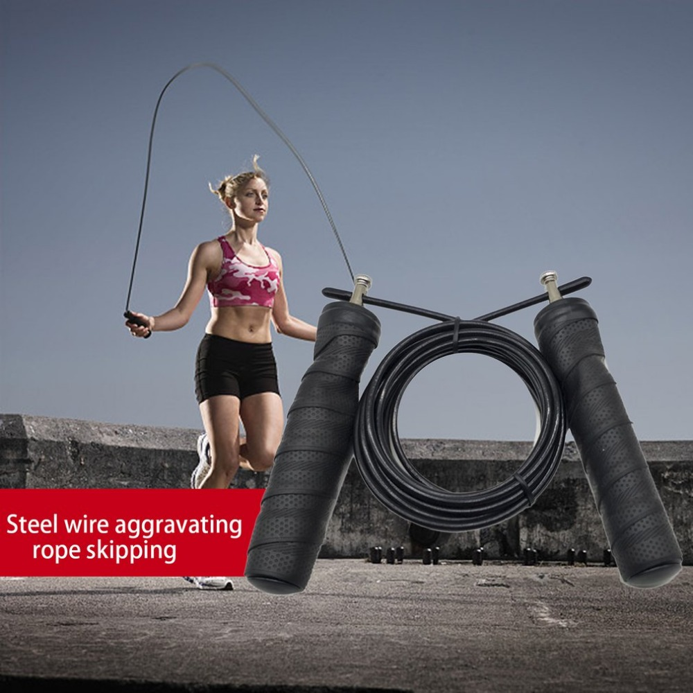 3m Steel Wire Jump <font><b>Rope</b></font> Adjustable <font><b>Skipping</b></font> Speed <font><b>Rope</b></font> Sweat Wicking <font><b>Handle</b></font> Fitness Training <font><b>Rope</b></font> for Boxing Exercise Comba image