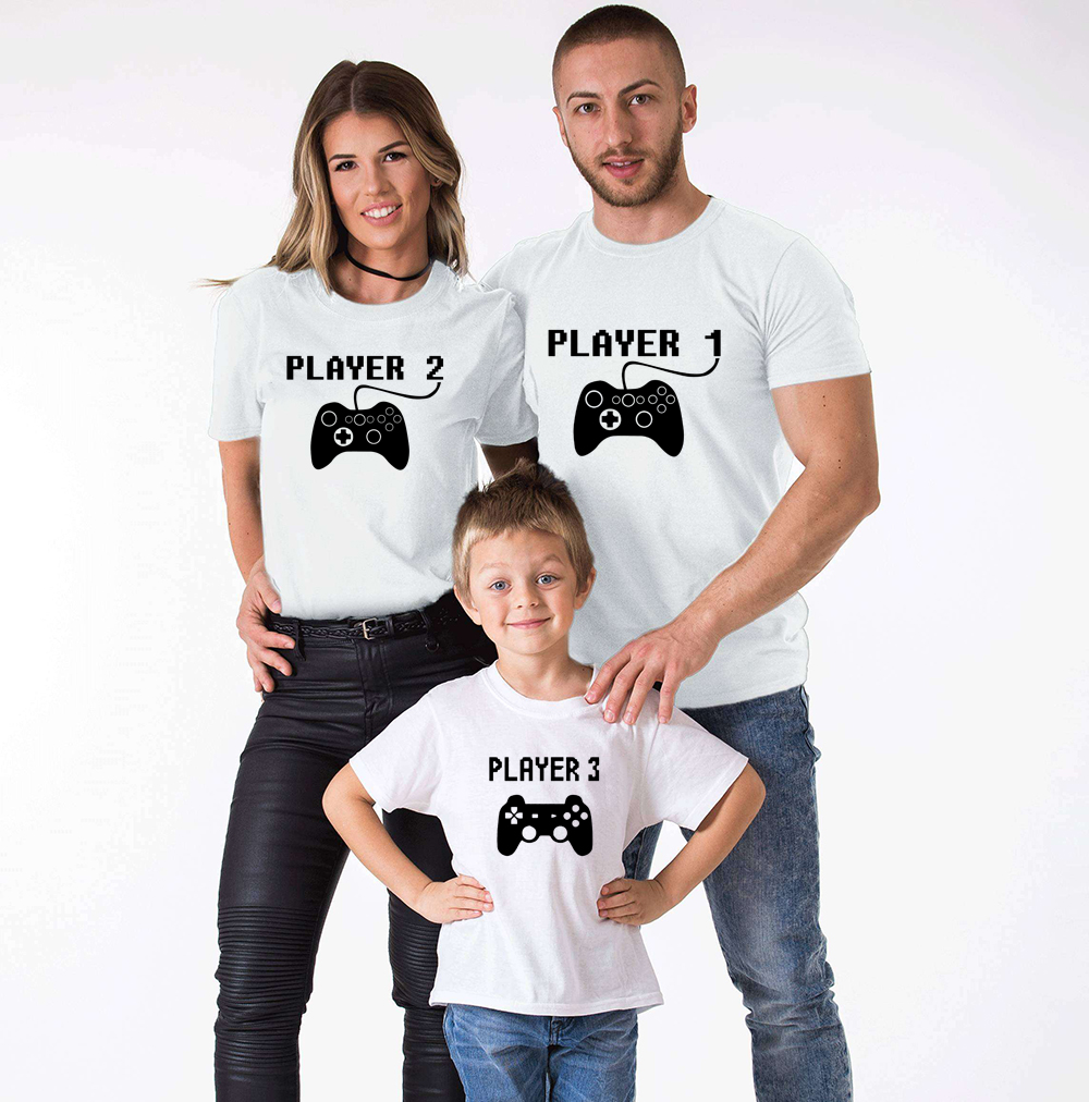 Player 1/2/3 Family Matching Clothes Mommy And Me Tshirt Mother Daughter Son Outfits Women Mom T-shirt Baby Girl Boys T Shirt