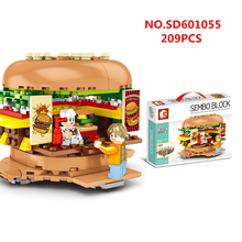 Mini Street Shop ice cream Micro Beverage Store Model hamburger Building Blocks Sets Bricks Kids Educational toys for Children hsanhe new street store plastic building blocks mini shop architecture dinosaur museum educational brinquedos for kids xmas gift
