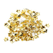 100x Gold 8mm Pyramid Studs Spots Punk Nailheads Spikes for Bag Shoes Bracelet(China)