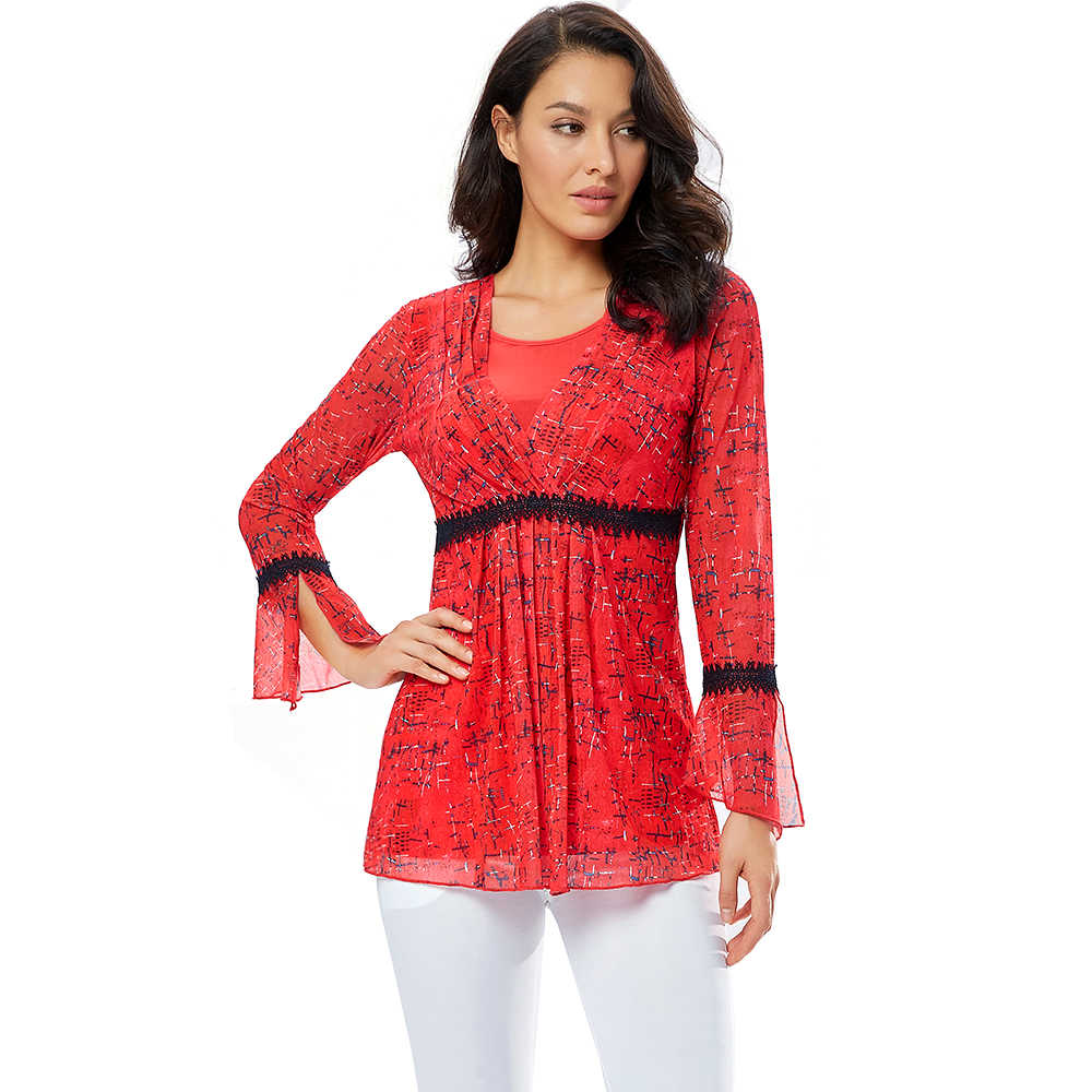 YTL шикарная женская блузка, шифоновые рубашки, Красная Вышивка, кружевное украшение, круглый вырез, вырез лодочкой, расклешенный рукав, женская рубашка, блуза H293