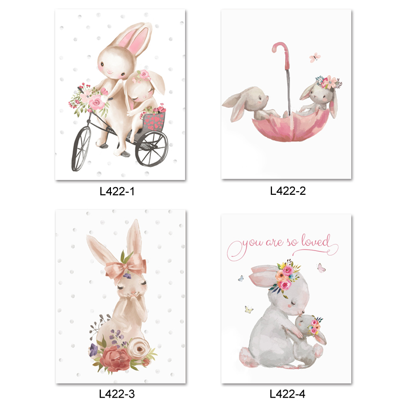 Милый серый кролик балет кролик настенные наклейки для детской комнаты с принтом кота наклейки на стену в детскую розового цвета с цветочны...
