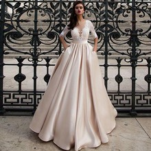 SINGLE ELEMENT Champagne Bridal Wedding Dress Half Sleeves Lace Suknia Slubna 2019 Vestidos de Novia Sereia