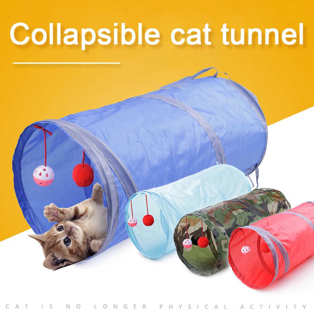 재미 있은 애완 동물 고양이 터널 2 구멍 놀이 튜브 공 Collapsible Crinkle 새끼 고양이 장난감 강아지 흰 족제비 토끼 놀이 개 터널 튜브 7 색