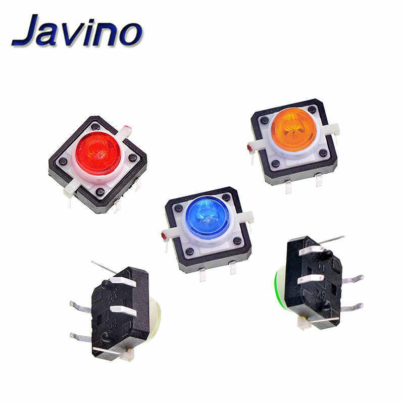 12*12 led صغيرة 4-pin زر إعادة تعيين microswitch مع الأحمر والأصفر والأزرق والأخضر والتبديل أضواء بيضاء لحظة