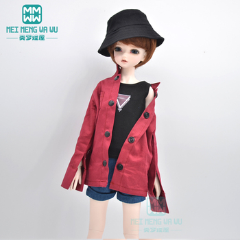 BJD doll clothes Commuter coat, denim shorts, hat for 40-45cm 1/4 BJD MSD MYOU doll accessories [wamami] 50 white chest op sweater tight knitwear for 1 4 msd dod bjd girl doll