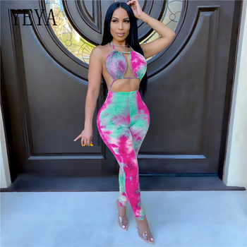 YEYA Tie Dye Print Sexy Halter Open Back Women Jumpsuits Club Party Playsuit Hollow Out Summer Rompers Full Length Bodysuit tropical print open back halter top