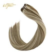 цена на Ugeat Sew in Weft Human Hair Extensions Highlight Blonde Color Hair 14-24 Non-Remy Brazilian Hair Double Drawn Soft Hair 100G