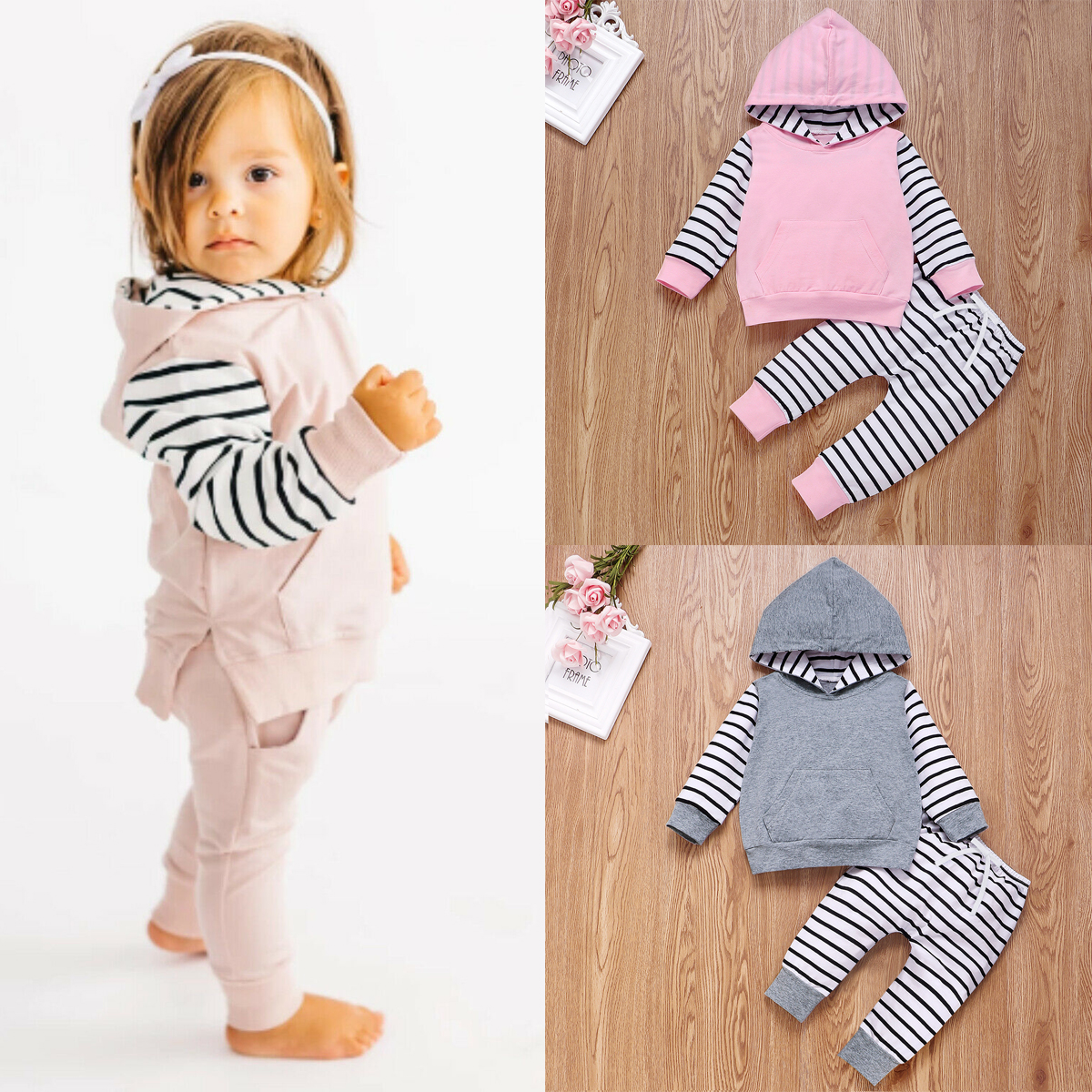 USA 2pcs Newborn Baby Girls Hoodie Hooded Sweater Tops+Pants Outfits Set Clothes