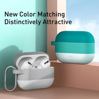 Baseus Colorful Case For Airpods Pro Case with Hook TWS Bluetooth Earphone Soft Silicone Protective Cover for Apple Airpods pro