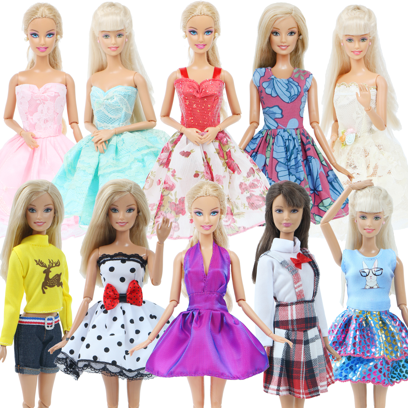 10 pcs//Lots Fashion Party Daily Wear Dress Outfits Clothes For  Doll Toys