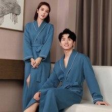 Lovers Herfst Gewaad Katoen Gewatteerde Ultra Lange Nachtkleding Wateropname Kimono Badjas Gown Warm Nachtkleding Sexy Nachtjapon