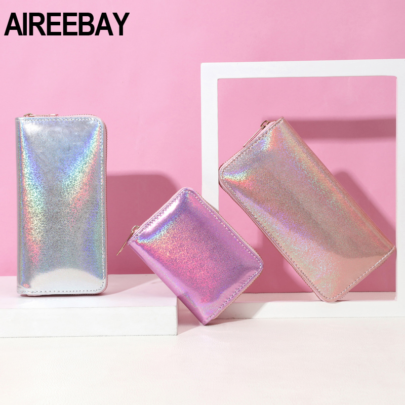 AIREEBAY Wallet Women Handbag Holographic Leather Wallets Laser Organizer Ladies Long Purses Female Girl Purse Card Id Holders