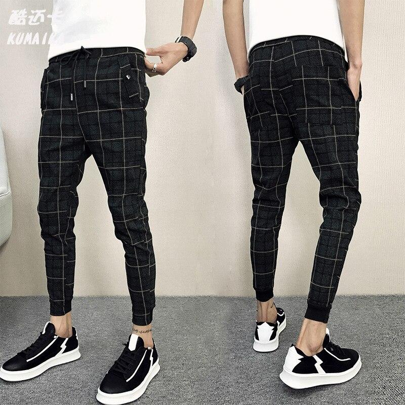 Social Fella Plaid Pants Summer Men Beam Leg Harem Pants Teenager Closing Skinny Casual Pants MEN'S Ninth Pants
