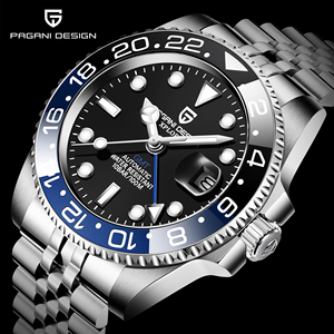 PAGANI DESIGN GMT 40mm Mechanical Watch Men's Top Brand Stainless Steel Sports Waterproof Automatic Watch Relogio Masculino
