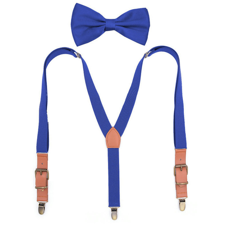Child Pants Trousers 2.5cm Holder Clip-on Y-Back Braces Bowtie Strap Kid Elastic Shirt Stays 3 Clips Alloy Metal Head Suspenders