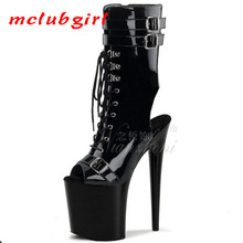 Women's Shoes Boot Belt-Buckle High-Heel Black Sexy Net Lacquer Super 17cm Mclubgirl