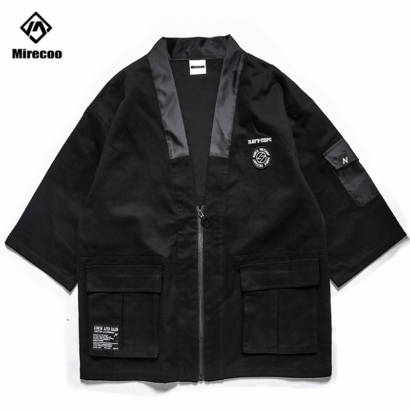 Techwear Men Japan Kimono Jacket Cardigan Design Zipper Open Stitch Jacket Men Windbreaker High Street Hip Hop Retro Men Coat