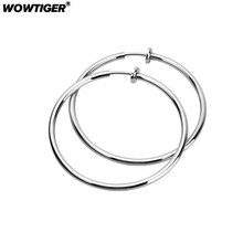 WOWTIGER silver Men Stainless steel 2pcs 3.5cm Invisible No Ear Hole Earrings Clip For women earrings Punk Wind Accessories gift(China)