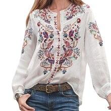 Этнические, праздничные женские блузки с принтом, женские топы, женские повседневные свободные модные летние блузки из полиэстера с рукавами-фонариками