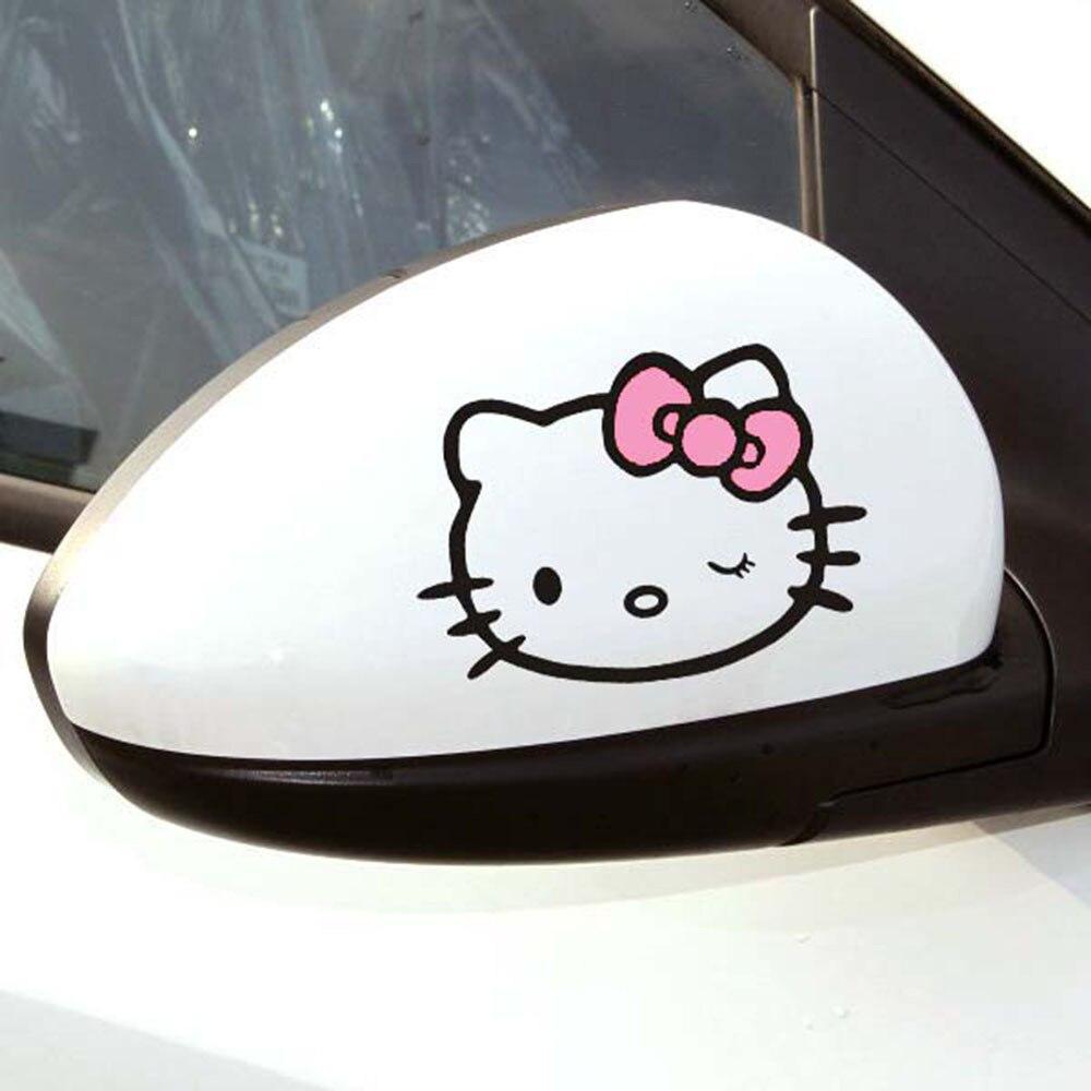 Aliauto 2 X забавные наклейки на зеркало заднего вида автомобиля и наклейки аксессуары для Volkswagen Polo Golf 11X8 см - Название цвета: Pink Black
