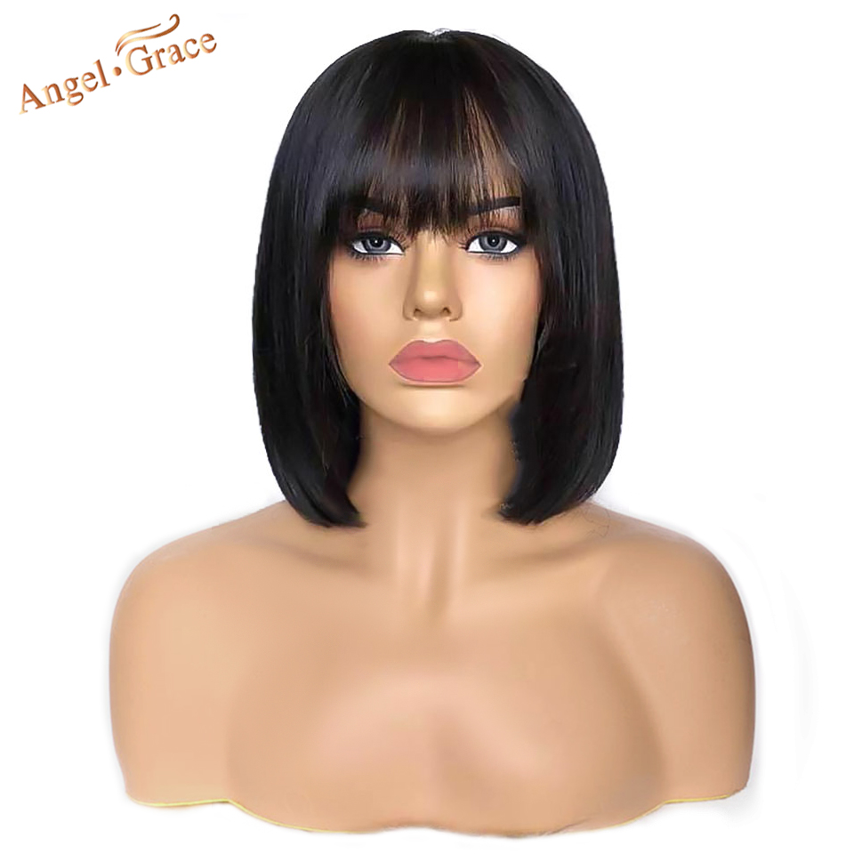 Angel Grace Short Bob Lace Front Human Hair Wigs With Bangs 13X4 Brazilian Straight Bob Wigs Pre Plucked With Baby Hair Remy